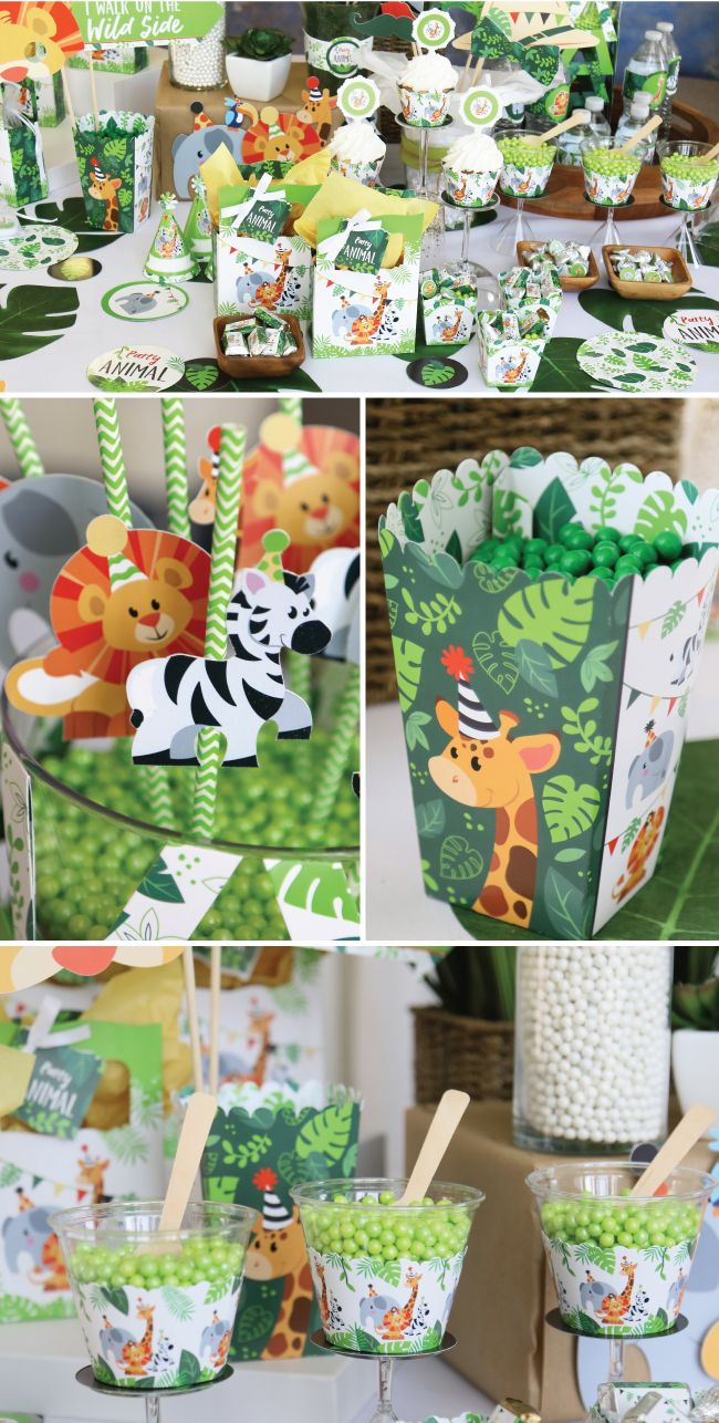 Jungle Party Animal Decorations - Safari Baby Shower and Birthday Party Ideas #safaribirthdayparty