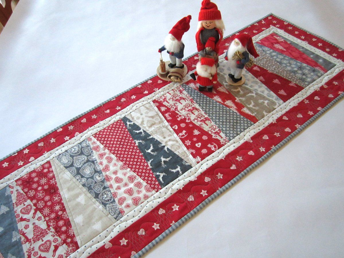 Christmas Table Runner With Scandinavian Accent Christmas Table Toppers Quilted Christmas Gifts Christmas Patchwork