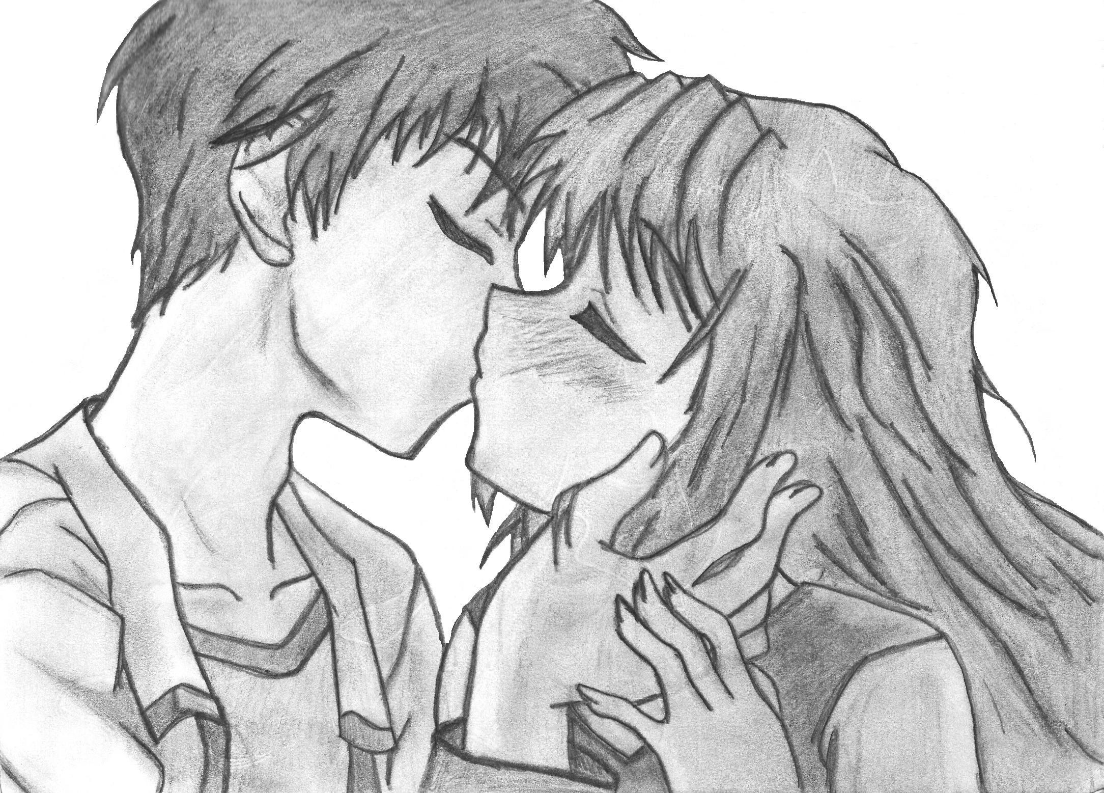 Drawing kiss anime couple hd wallpaper