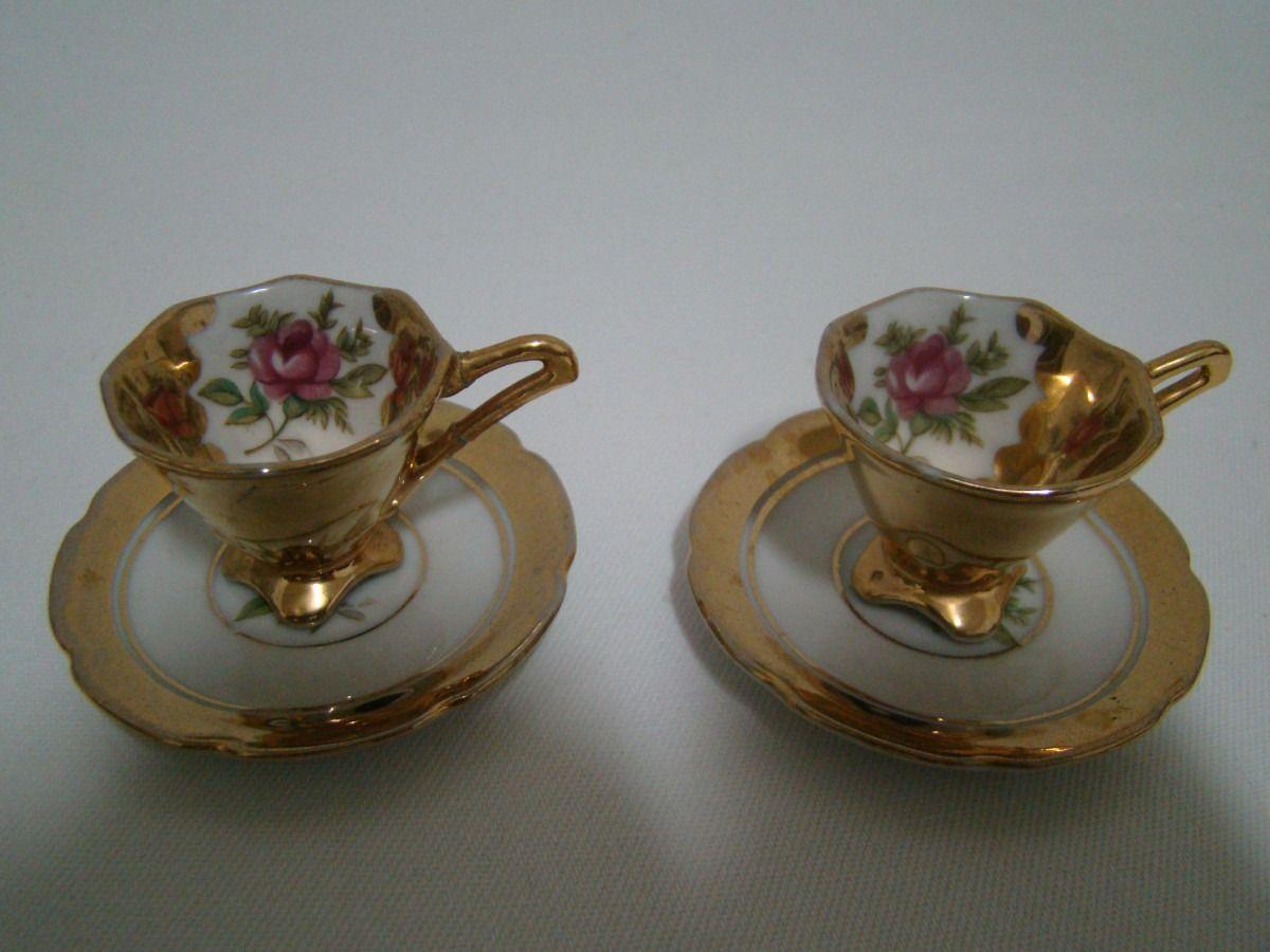 1 Par De Xicaras De Porcelana Folheada A Ouro Decada De 50 R 199 87 No Mercadolivre Xicaras De Porcelana Porcelana Xicaras Decoradas