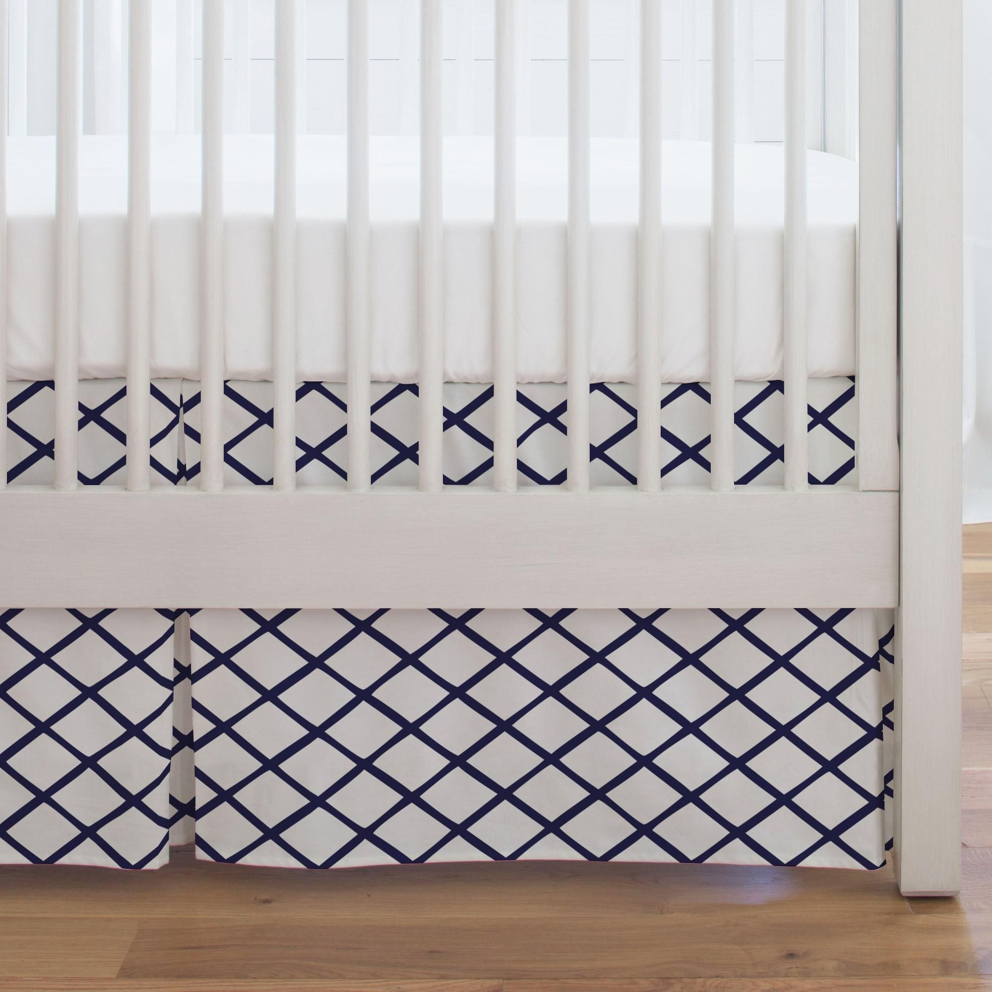 Get Your Crib Picture Perfect With Our Single Pleat Crib Skirt Finished Length Approximately 16 17 Inches Fits Crib Skirts Navy Blue Nursery Carousel Designs