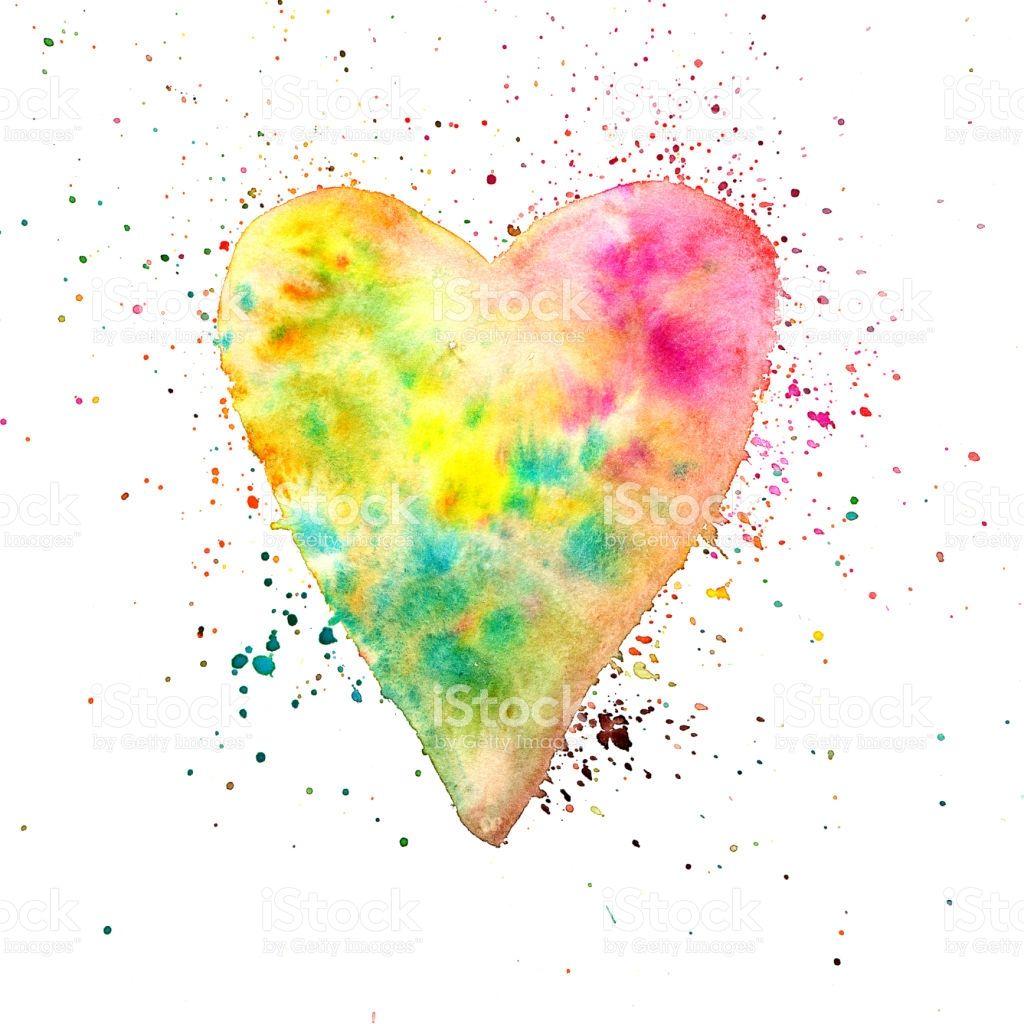 Aquarell Herz Malen Mit Farbe Bespritzt Stock Vektor Art Und Mehr