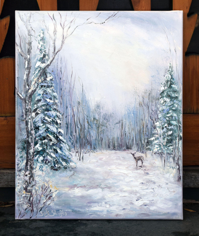 Winter Landscape Original Oil Painting On Canvas 16x20 Etsy Winter Landscape Painting Winter Landscape Landscape Paintings