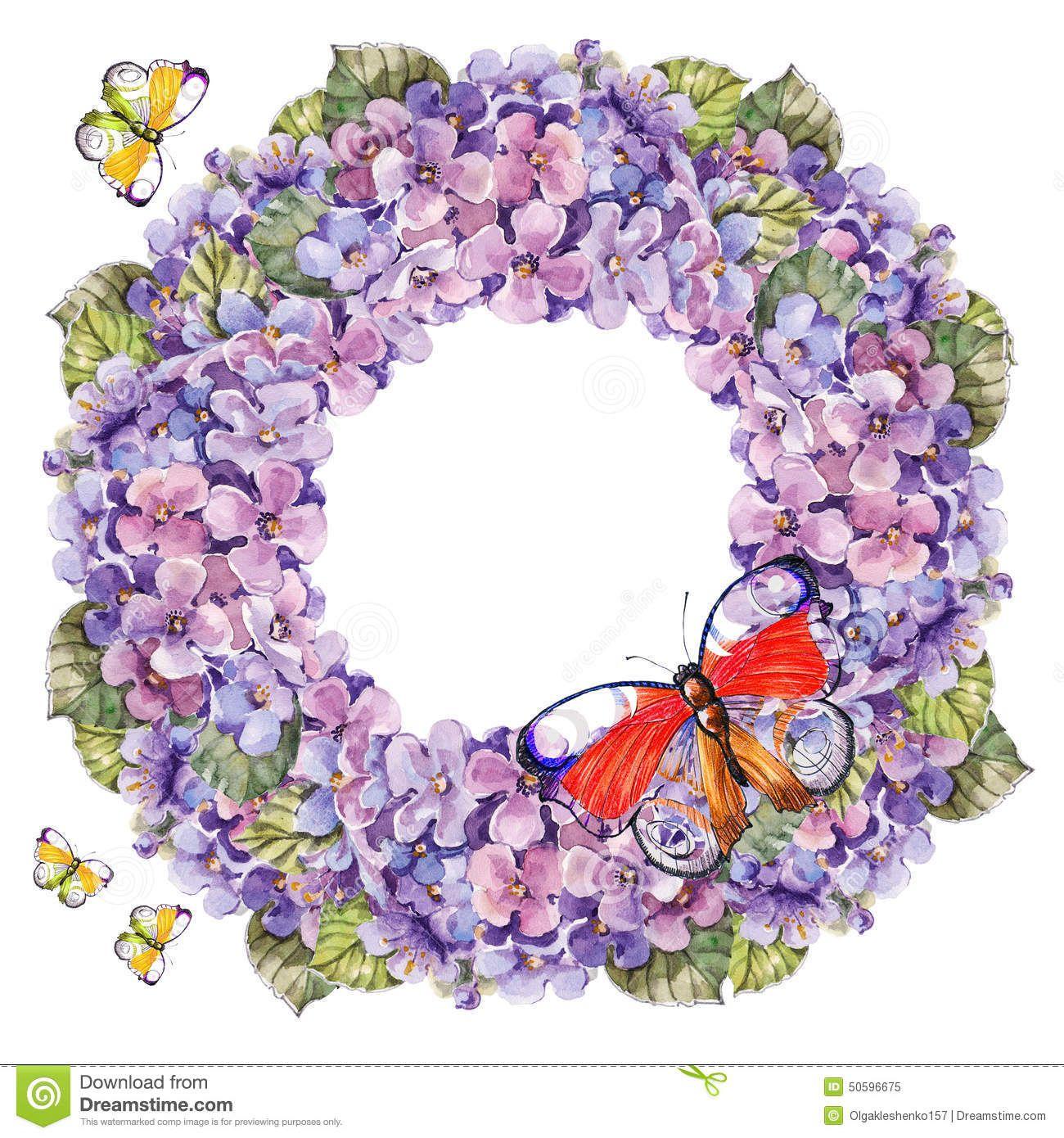 bouquet-hydrangea-flower-garland-butterflies-watercolor-handmade-white-background-50596675.jpg (1300×1390)