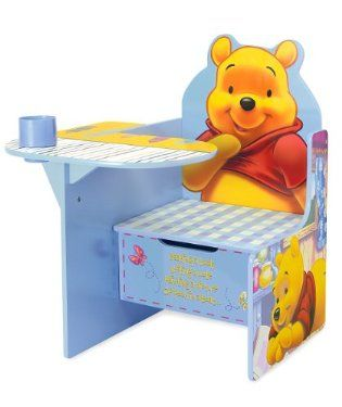 Winnie the Pooh Desk and Chair Set with storage under seat of chair. i so want one of these... so cute!
