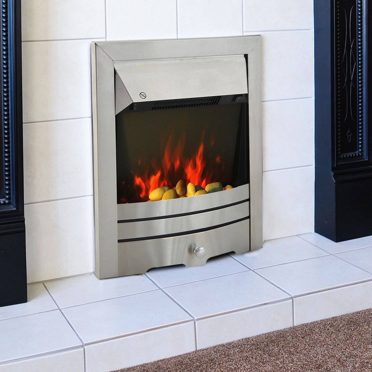 2kw electric stainless steel flame effect fireplace