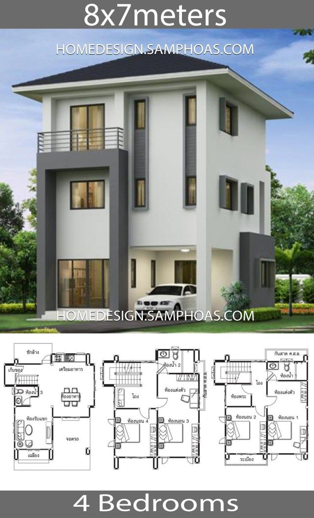 House Design Plans 8x7m With 4 Bedrooms Home Ideassearch Craftsman House Plans Minimal House Design Small House Design Plans