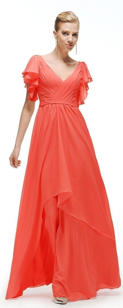 Coral Modest Bridesmaid Dresses With Sleeves Plus Size Prom