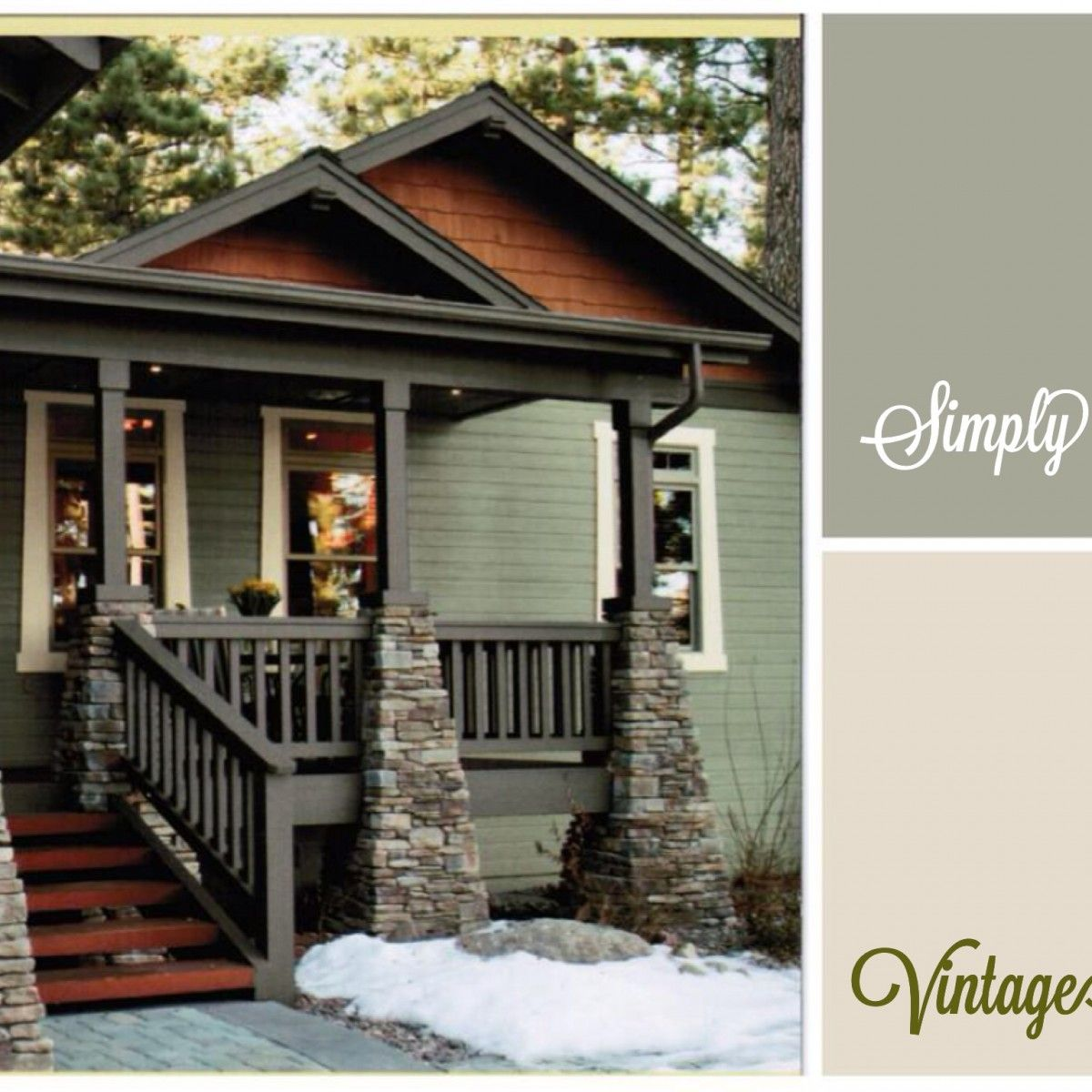 Sage green exterior paint colors paint colours mountain for Exterior home accents