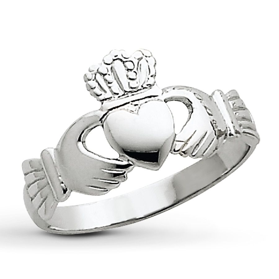 Jared Womens Claddagh Ring 14K White Gold Promise Rings