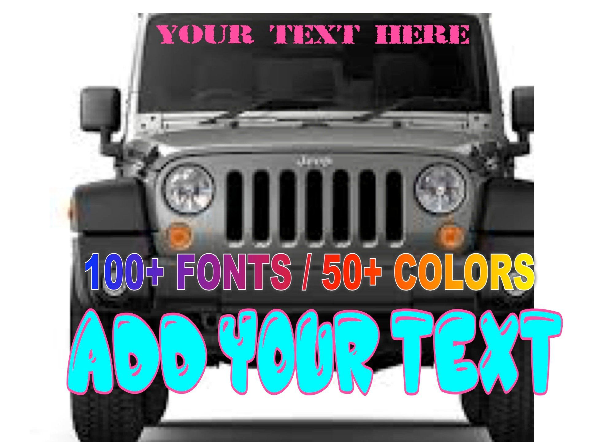 Custom windshield decals words and numbers personalize
