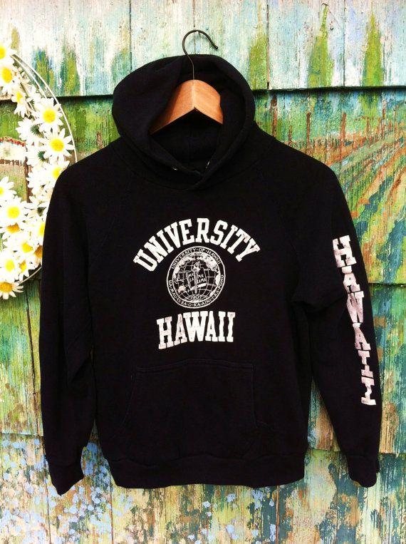 79e4c69ba3 Vintage 80's University of Hawaii 50/50 Soft Hooded Sweatshirt Hoody Black  Grunge Apres Surf Skate Beach Night Wear Made in USA College on Etsy, Sold