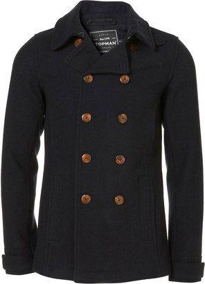 9b116f30549 ShopStyle  TopmanNavy Wool Skinny Fit Peacoat