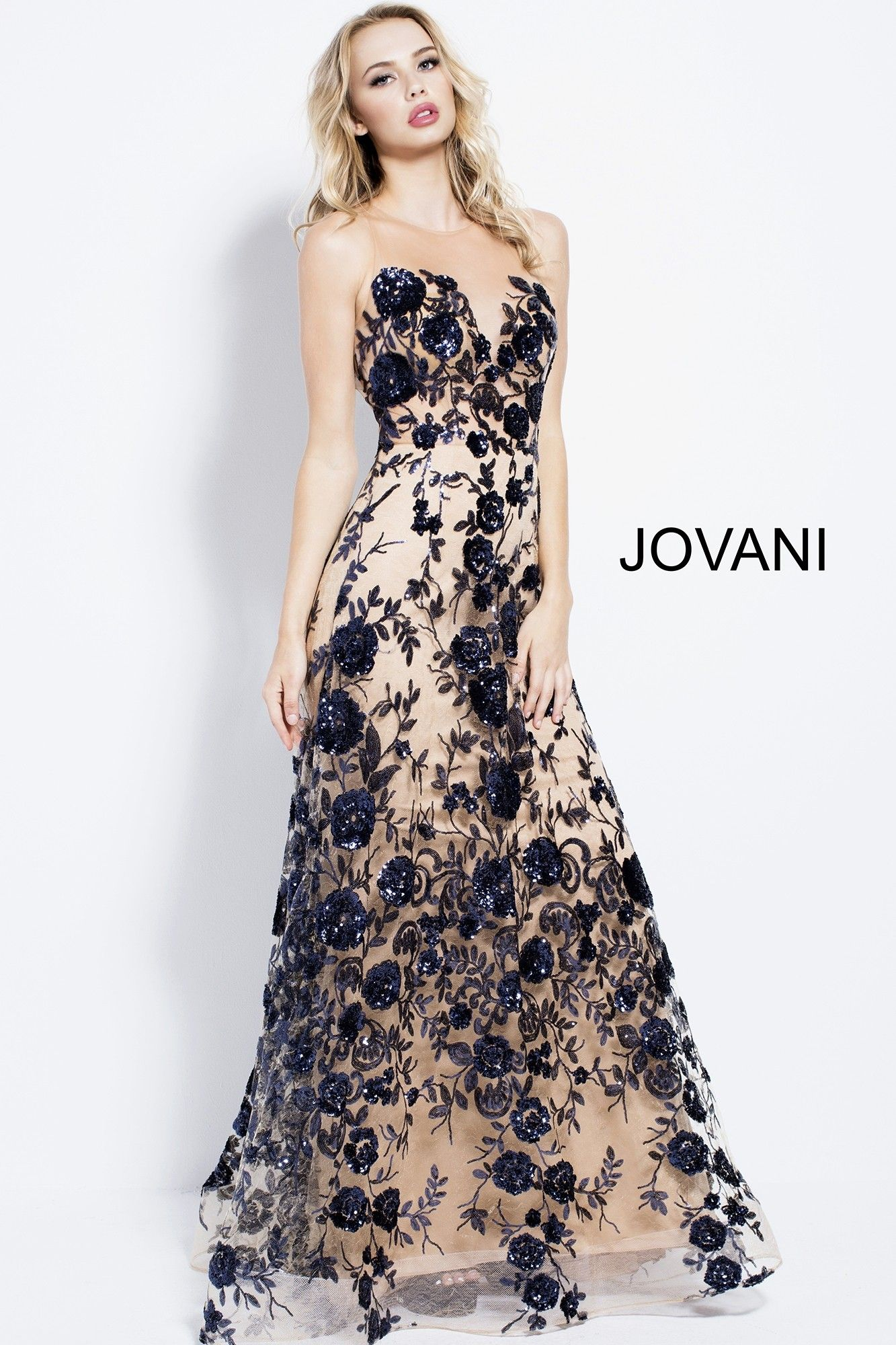 Enter A Glamorous Garden In Jovani 56046 This Enchanting Gown Blossoms With Floral Embroidery And Stunning Jovani Dresses Formal Dresses Long Mesh Prom Dress [ 2000 x 1333 Pixel ]