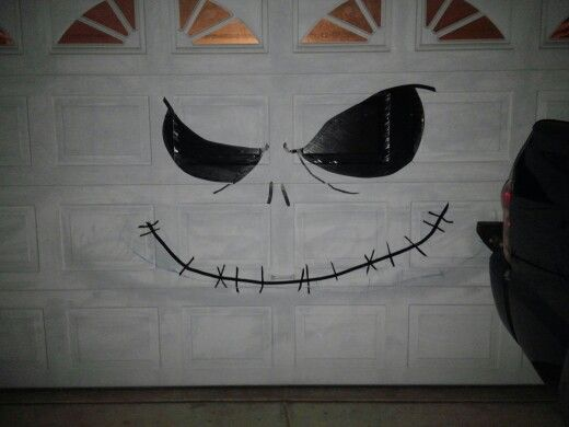 Jack Skellington Diy Garage Door Decoration Using Electrical Tape