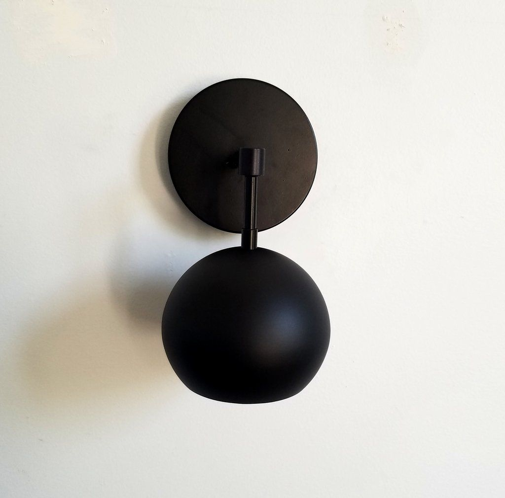 All Black Globe Wall Sconce Scandinavian Design Midcentury Modern Wall Lighting Matte Black Sconces Black Sconces Scandinavian Wall Sconces