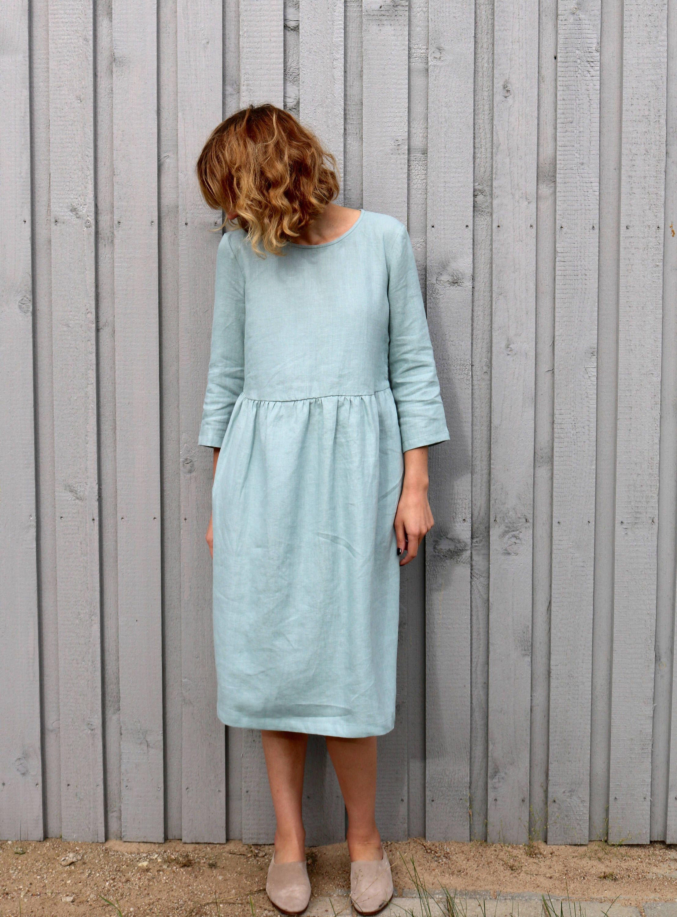 aa2be7679e1 Linen Dress - Cloudy Sky Fall Linen Dress - Loose Fit Linen Dress ...
