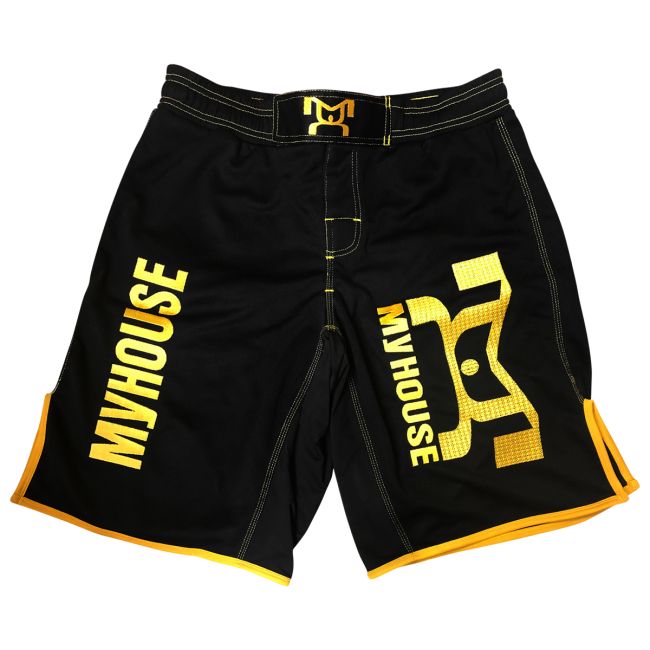 Mesh Embroidered Mma Fight Shorts Black Yellow