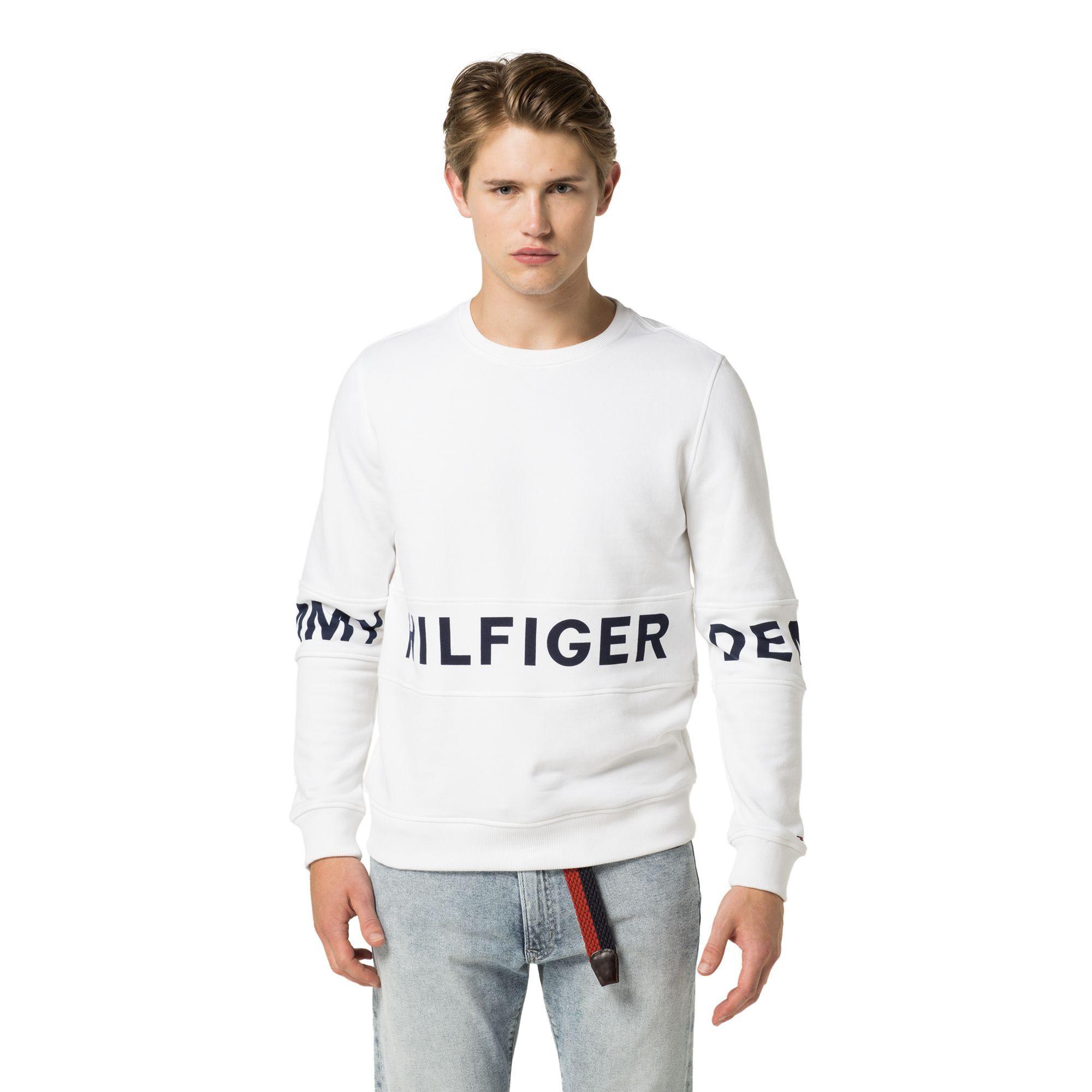 489caa457 TOMMY HILFIGER SIGNATURE CREWNECK SWEATSHIRT - CLASSIC WHITE.  tommyhilfiger   cloth