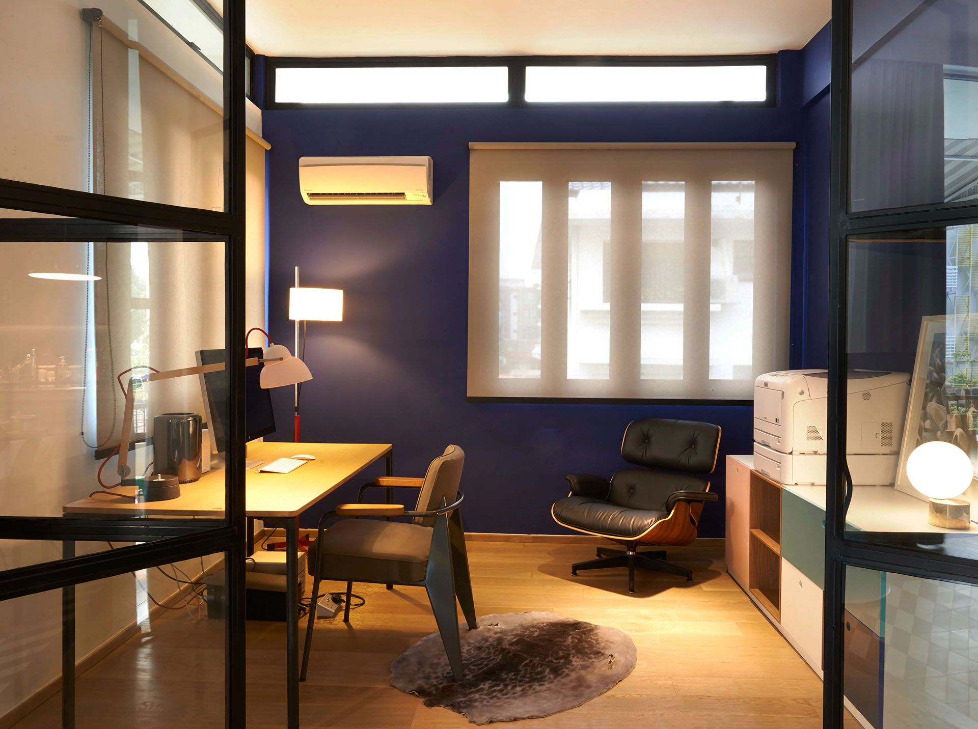 Midnight Blue Study Room - A Bachelor Pads Parisian Charm