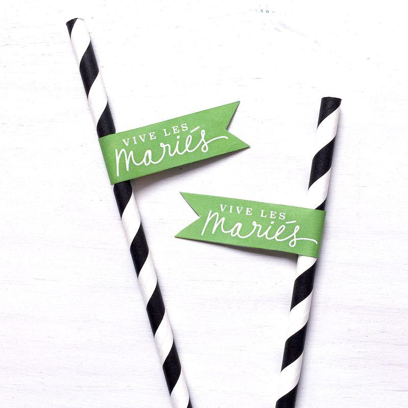 Mariage - Drapeaux-étiquettes - Vive les mariés - Le Bar à Idées