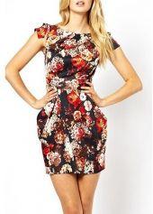 Charming Round Neck Cap Sleeve Print Design Mini Dress