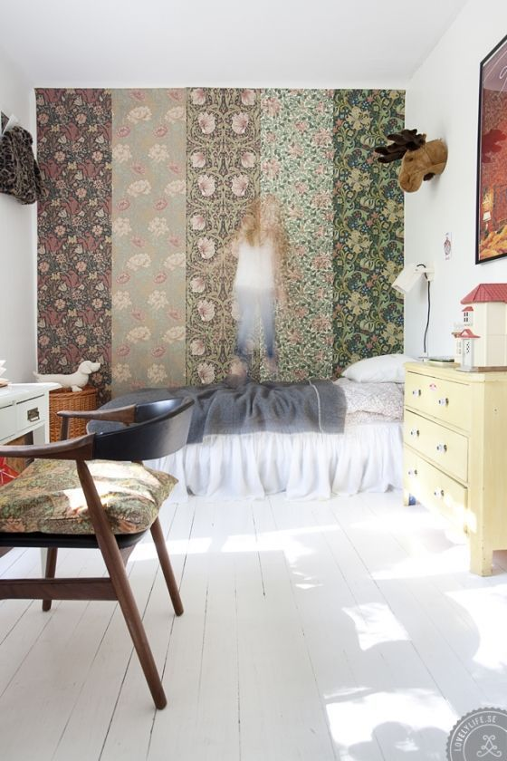 Great way to style a wall! Downside: You'll have to buy 5 different, often expensive, beautiful rolls of wallpaper.