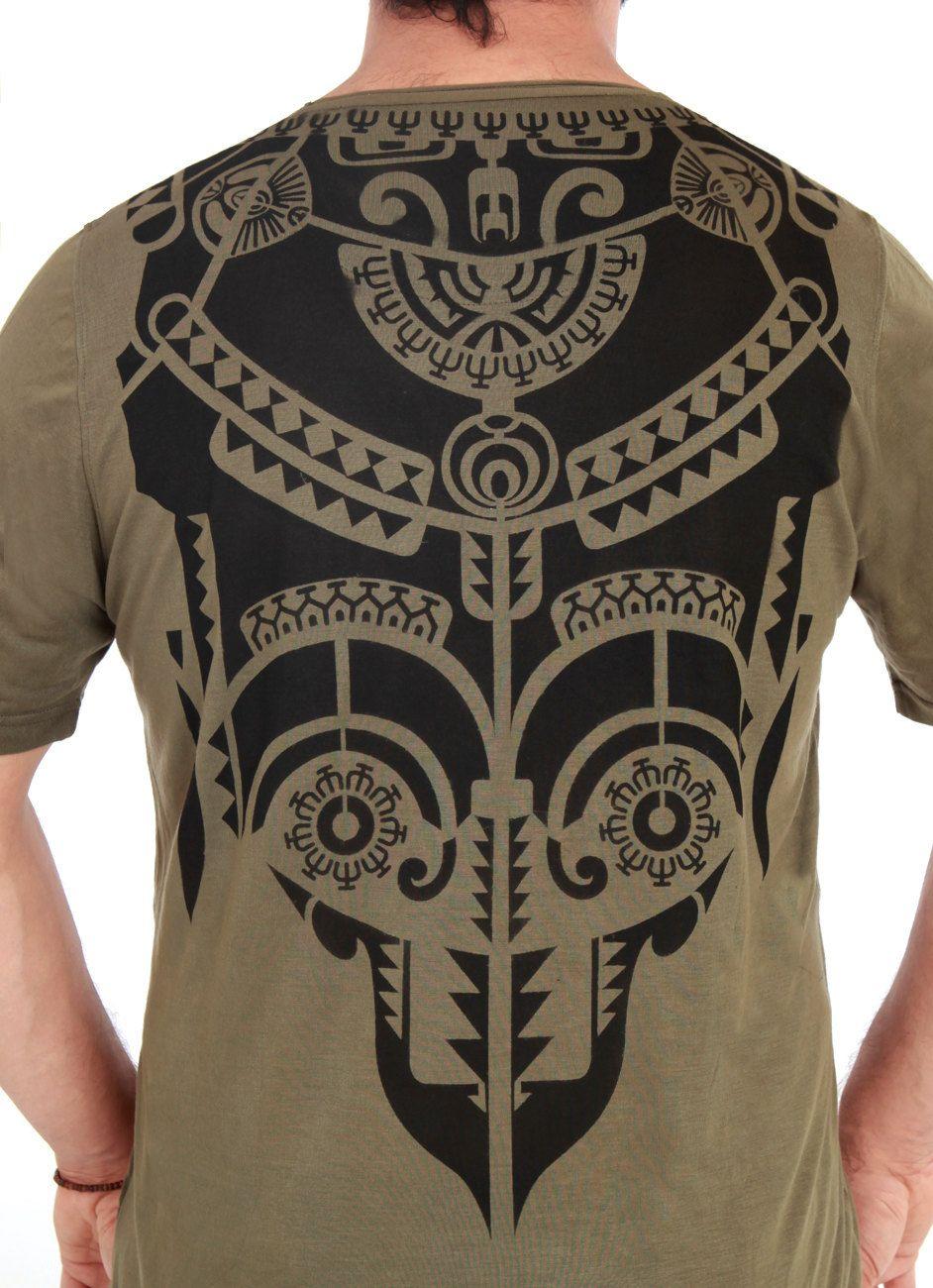 cc3f91baf Mens olive green tshirt, hand stenciled Tribal Aztec Tattoo graphic, casual  festival wear. $68.00, via Etsy.