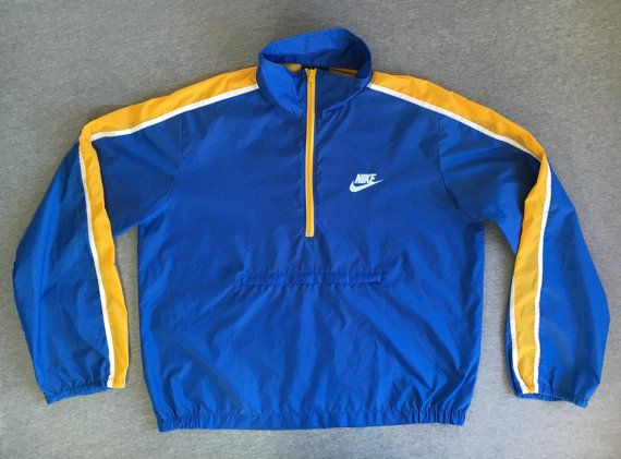 30d44532ecdc NIKE WINDBREAKER Jacket 80 s Vintage Blue Tag  Original Half Zip WindRunner  Warm Up Nylon Track  Bre