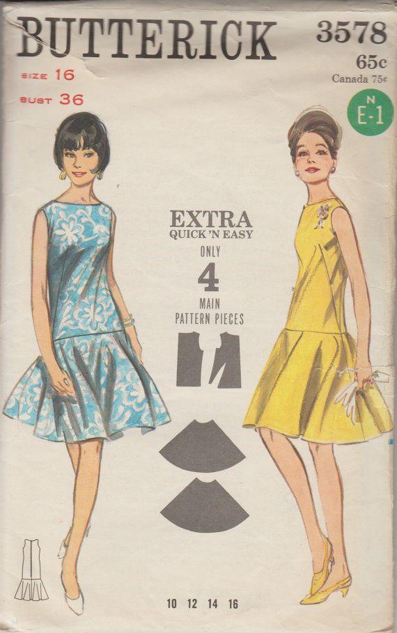 1965 Chemise Sewing Pattern Long Line Bodice Vintage Butterick