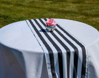 Exceptional Striped Pattern Table Runner   Black (12 X 108)