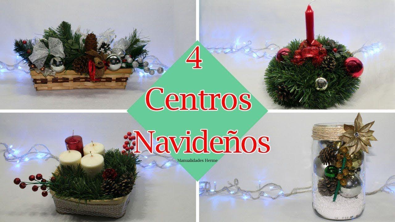 4 Centros de mesa para Navidad Videos manualidades Pinterest