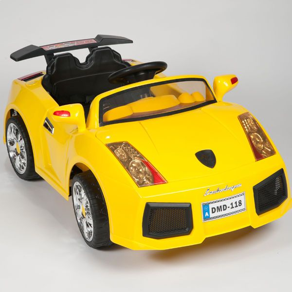 12v yellow lambo kids ride on rc car remote control battery powered wheels mp3