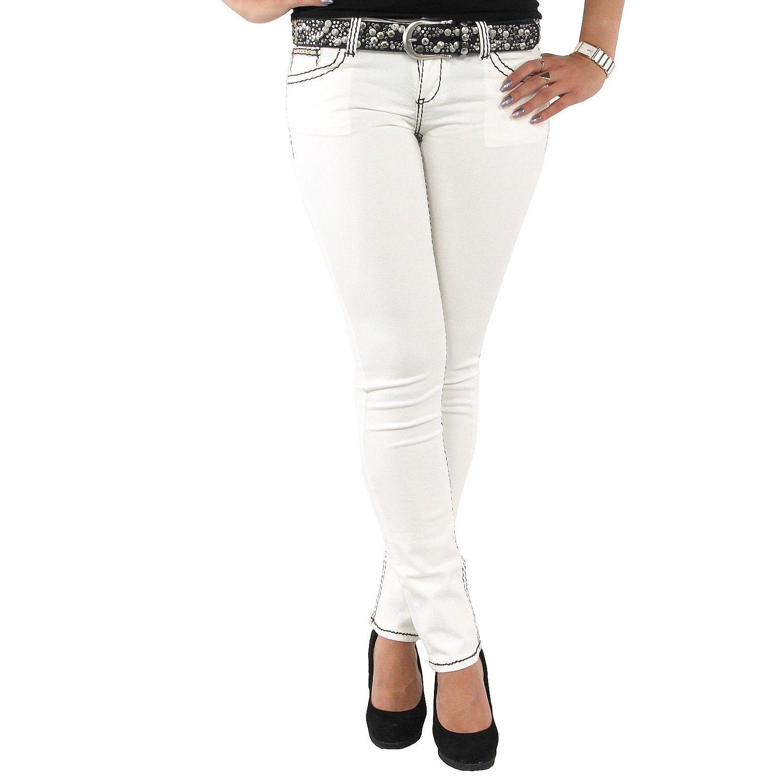 8260e1bba9ba Schöne Damen Jeanshose in weiß Stylefabrik Fashion mit schwarzen ...