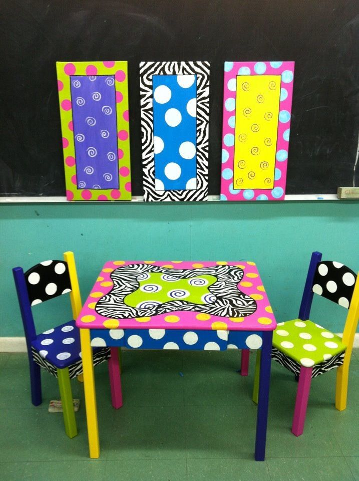 Painted Kids Table And Chairs.. This Would Be A Cute Homework Table