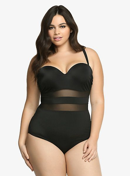 a139748819c7b Mesh Panel One-Piece Natural Support Swimsuit