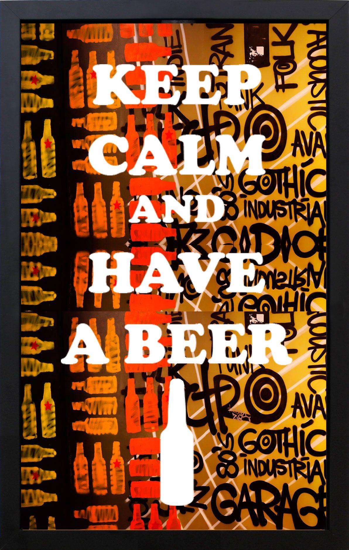 Quadro Porta Tampinhas Arte Keep Calm And Have A Beer 28x43x5cm - Decore Pronto