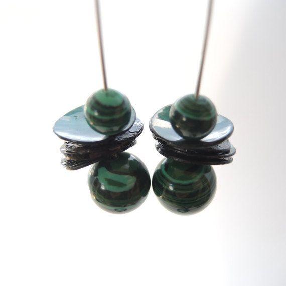 green malachite earrings handmade dangle by FlorenceJewelshop