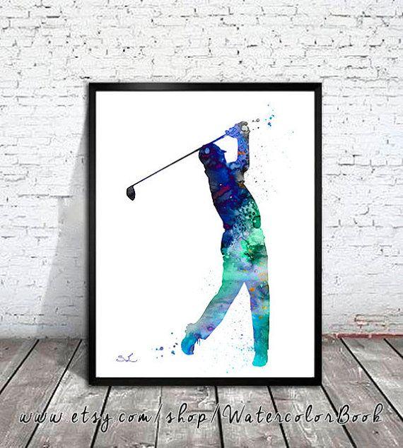 Golf Watercolor Painting Print Golf Art Watercolor Print Sport
