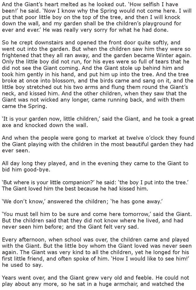 Grade 6 Reading Lesson 20 Short Stories The Selfish Giant 3 | Grade