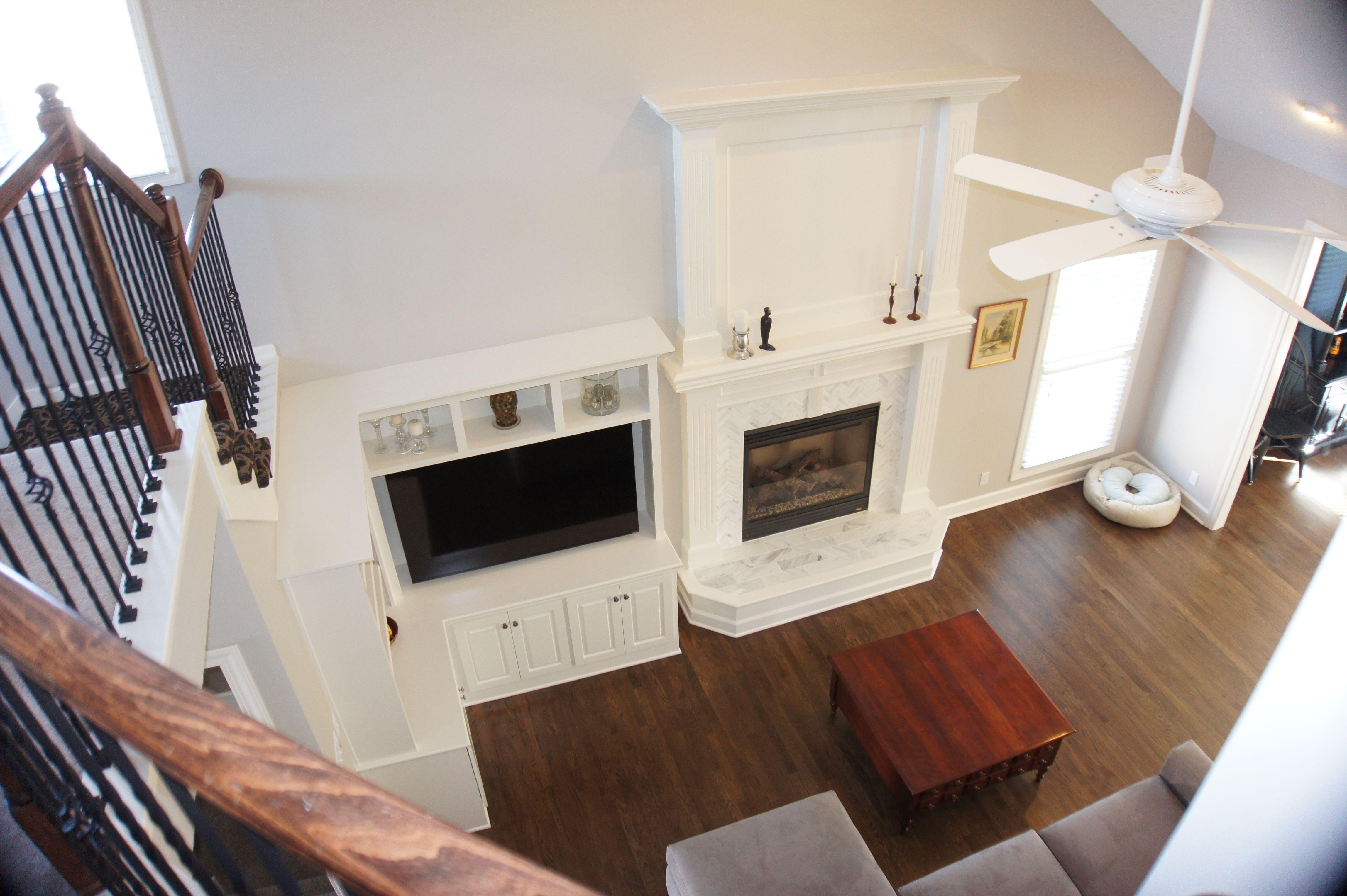 Overlooking living room refinish new built in