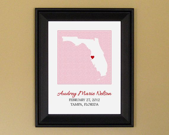 Personalized baby name keepsakes babies pinterest artwork baby shower present custom baby name art print new mother gift personalized florida state map 11 x 14 negle Images