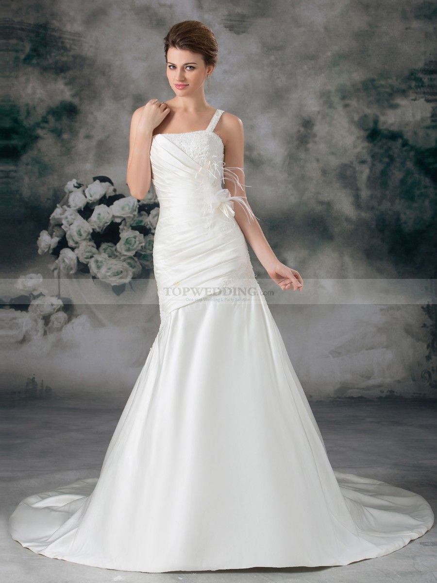 One shoulder appliqued satin mermaid bridal gown with feather and