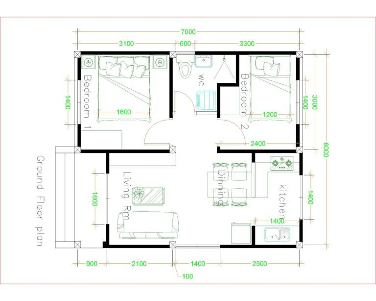 Simple House Plans 6x7 With 2 Bedrooms Hip Roof House Plans 3d Simple House Plans Simple House Design Tiny House Layout Simple house plan layout