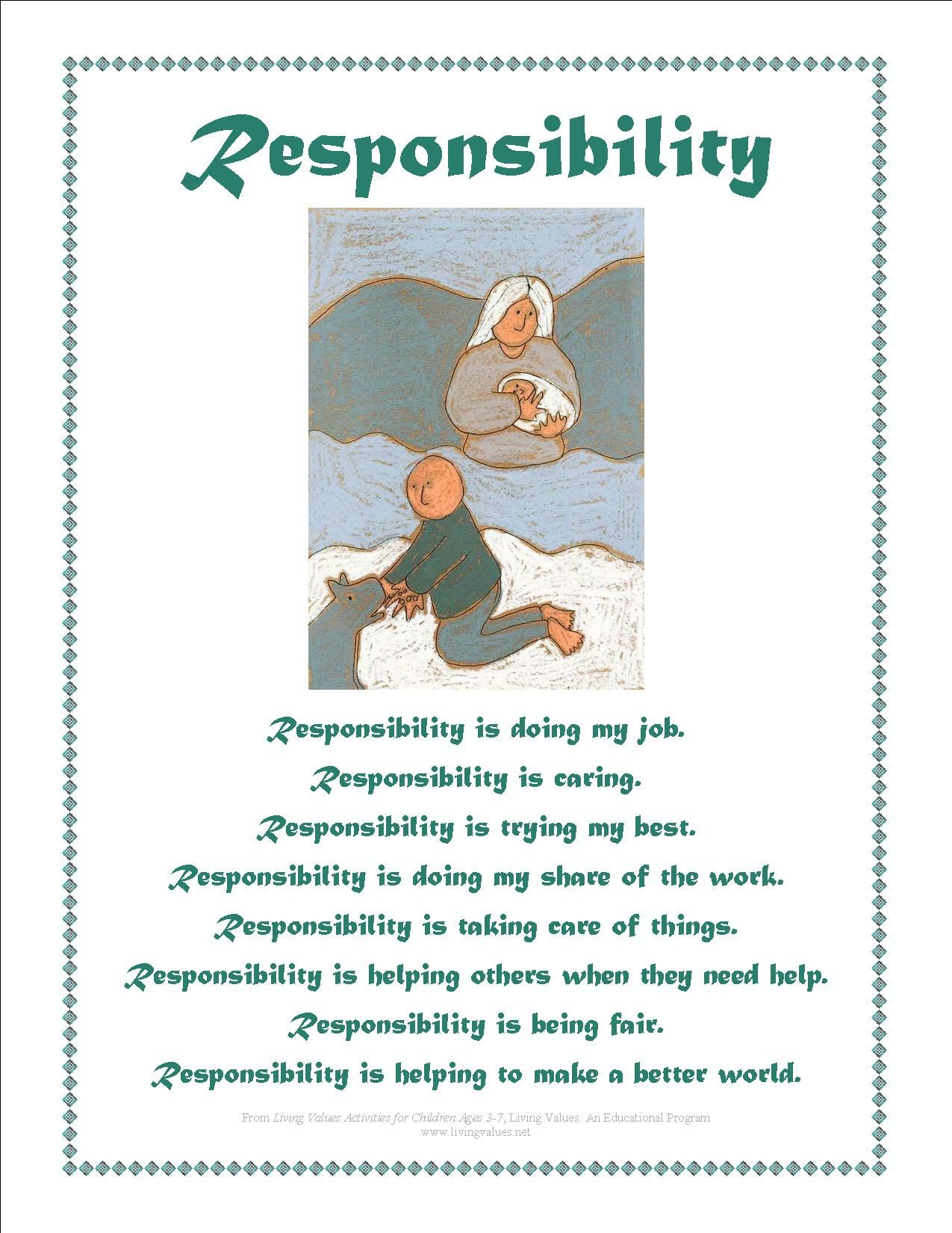 responsibility activity sheets values posters responsibility activity sheets values posters