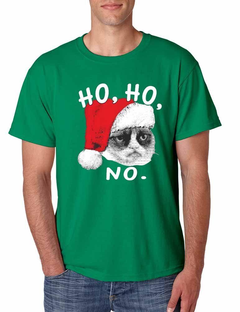 Grumpy Cat Ho Ho NO Green Mens T-Shirt