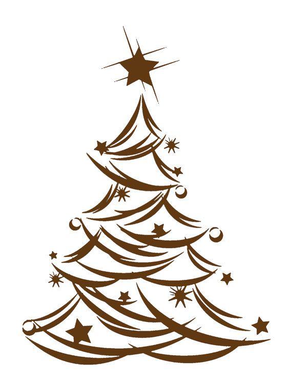 Modern Christmas Tree Vinyl Decal In Brown By Vinylskygraphics 25 00 Christmas Tree Drawing Christmas Tree Vinyl Christmas Svg