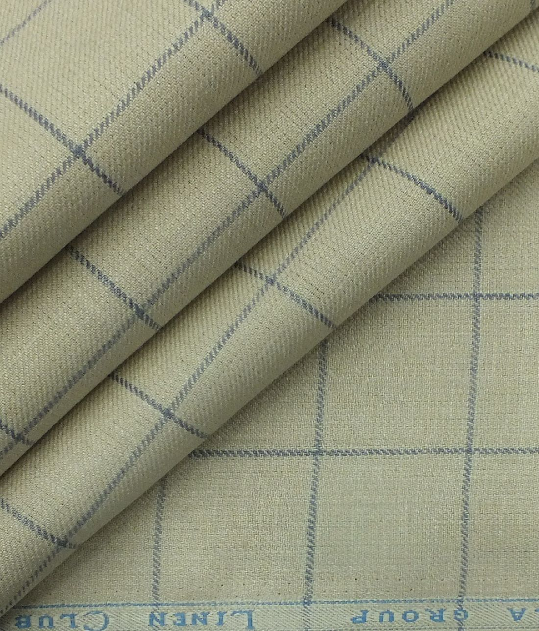 Linen Club Beige 100 Pure Linen Blue Check Trouser Fabric 1 30 M Pure Linen Linen Fabric