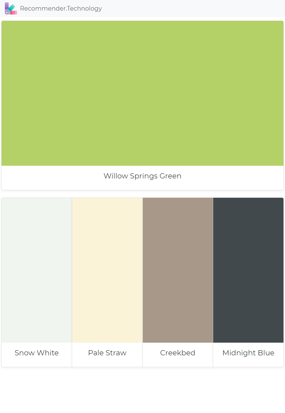Paint Color Pallets Willow Springs Green Snow White Pale Straw Creekbed Midnight Blue