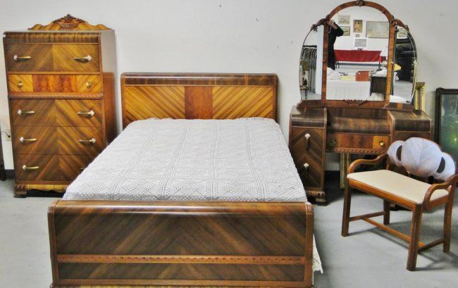 Victorian Bedroom Sets Used | This Is An Entire Waterfall Bedroom Set From  The Mid 1930s